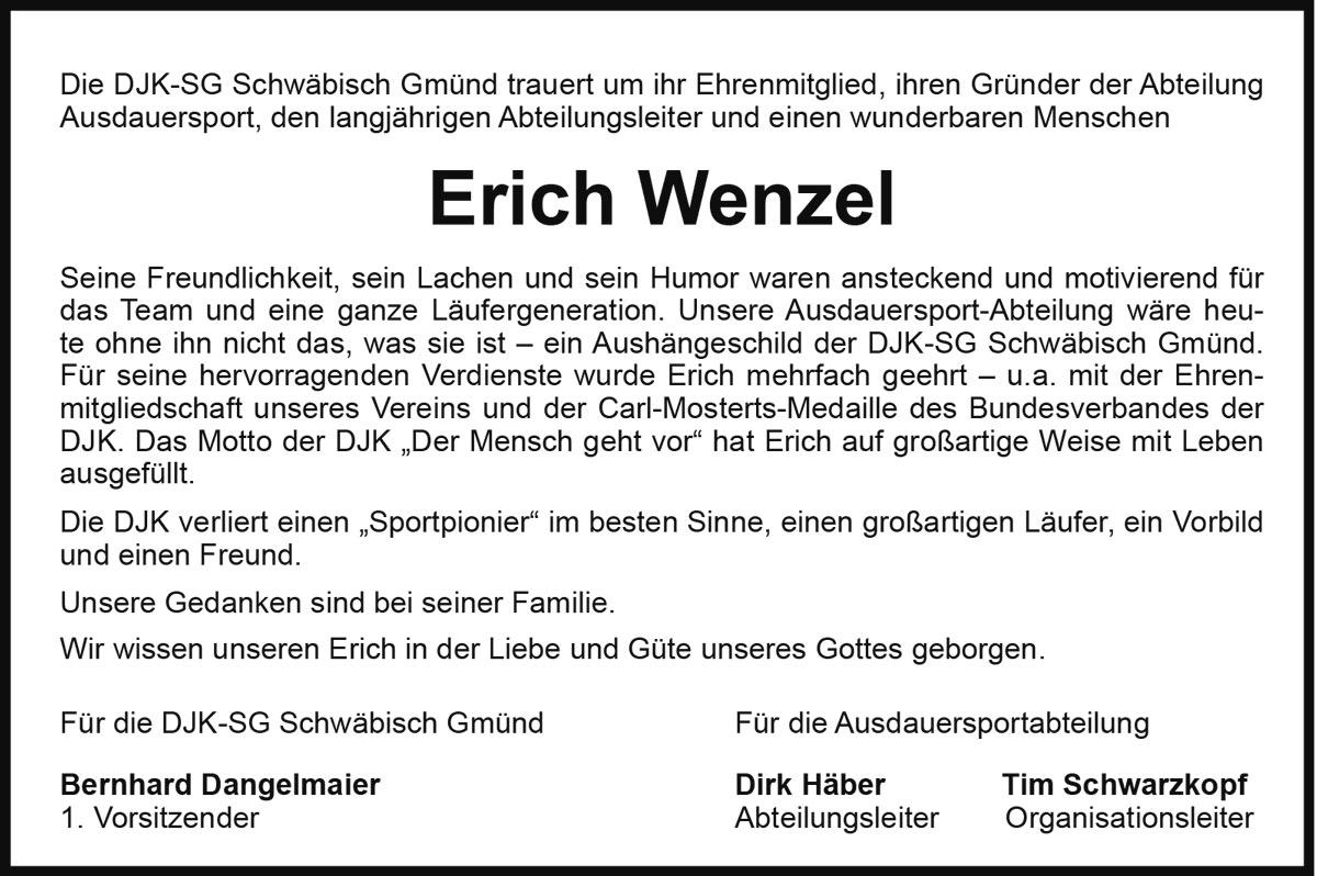 Todesanzeige Erich Wenzel